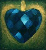 Blue Faceted Heart, Paper, 4 x 4""