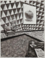 Charcoal Interior with Charged Elements, 2020 charcoal on paper 24.5 x 19 inches