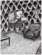 Charcoal Interior with Disrupted Pattern, 2020 charcoal on paper 24.5 x 19 inches