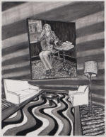 Charcoal Interior with Groovy Rug and Awkward Situation, 2020 charcoal on paper 24.5 x 19 inches