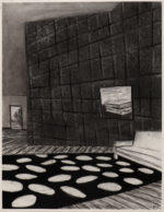 Charcoal Interior with Skewed Wall and Jumbled Spots, 2020 charcoal on paper 24.5 x 19 inches