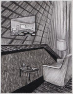 Charcoal Interior without Much to Look At, 2020 charcoal on paper 24.5 x 19 inches