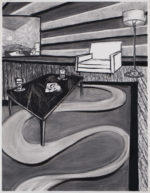 Charcoal Interior with Flat Curvy Rug, 2020 charcoal on paper 24.5 x 19 inches