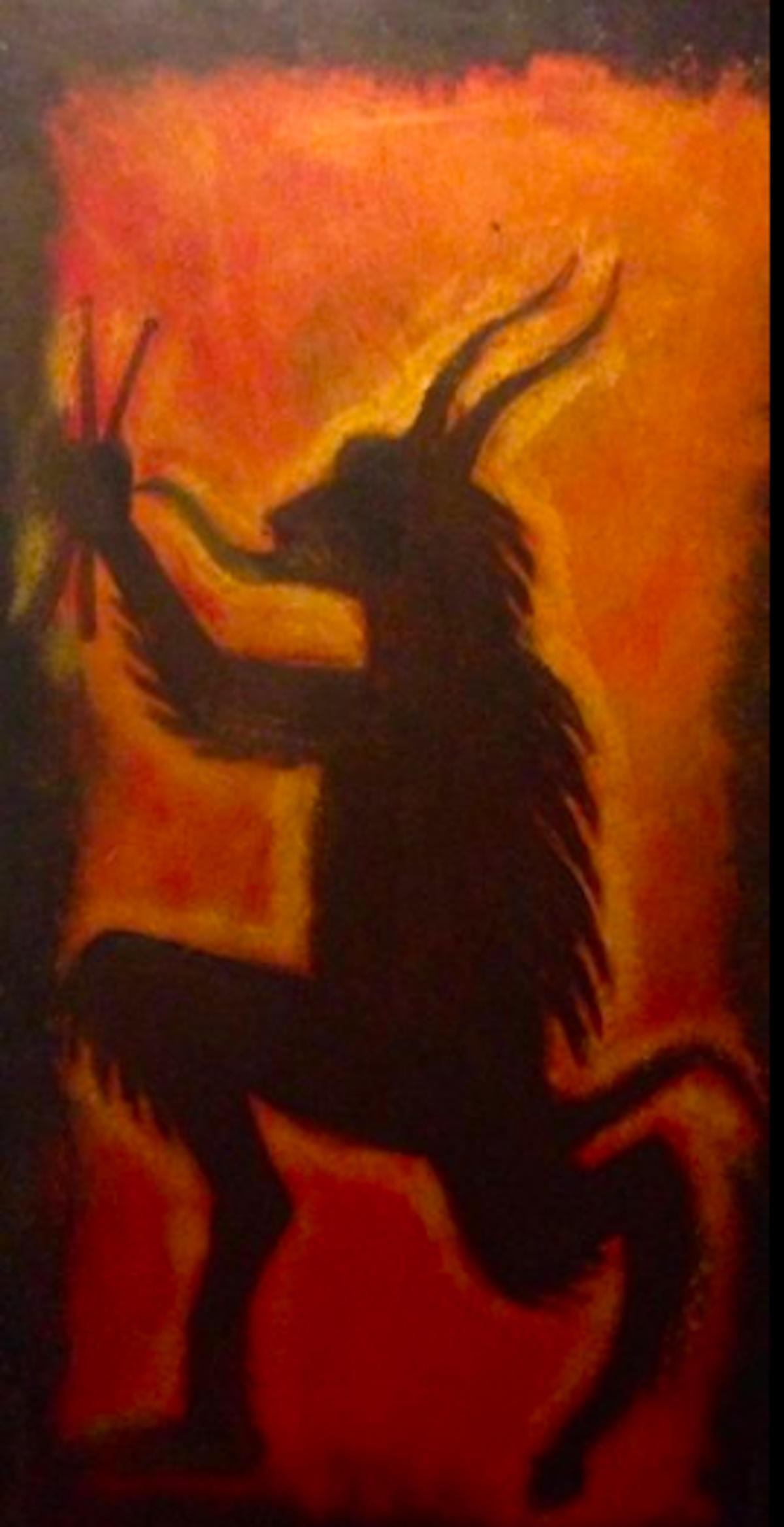 Aisla Islava eLoterrhea! El Diablito MusiCante Ill.Omenado (2018) Acrylic on Wood Panel, 4'x6′