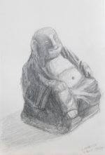 """Buddha, Graphite on Paper, 5.5 x 8.5"""""""