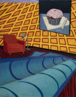 Interior with Topsy Turvey Rug and Birthday Cupcake, 2020 acrylic and oil on canvas 28 x 22 inches