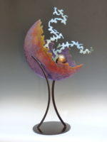 Welded steel sculpture with chemical patina