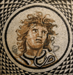 "2010, stone, 32""X32"", reproduction of Roman mosaic circa 115-150 AD"