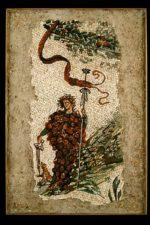 "2011, stone, 36"" x 24"", mosaic rendering of an ancient fresco found in the Casa del Centenario in Pompeii"