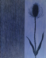 Blue Lake Thistle - 10 in x 8 in. - MIxed Media on Carved Wood Panel - Sold