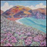 """Maeve Croghan, """"Heather Headlands,"""" oil on canvas, 36"""" x 36"""""""