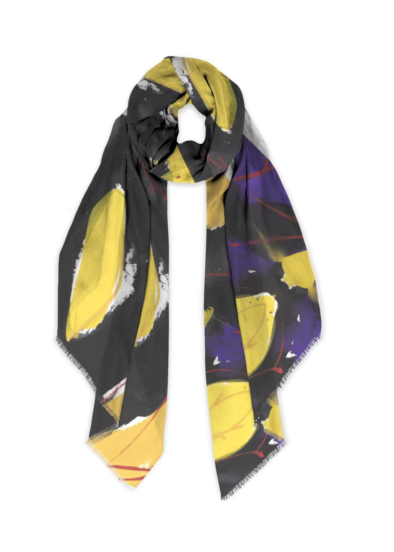 Cotton Scarf, yellows black and red., 28x78
