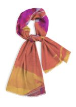 "Natural Cotton scarf, 78x28""magenta, orange and yellows"