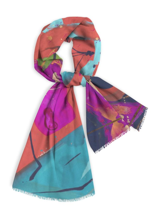 """Natural cotton scarf, 28"""" x78"""" long navy blue, magenta, turquoise and green."""