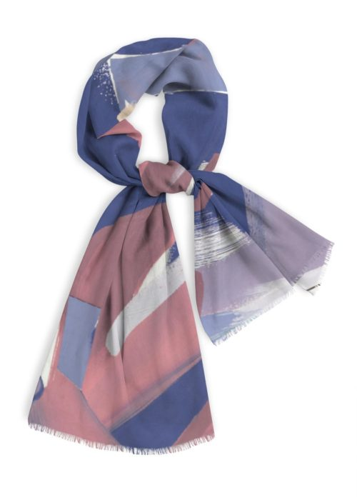 """Natural Cotton Scarf, 28x78"""" rose, violets, and blue colors"""