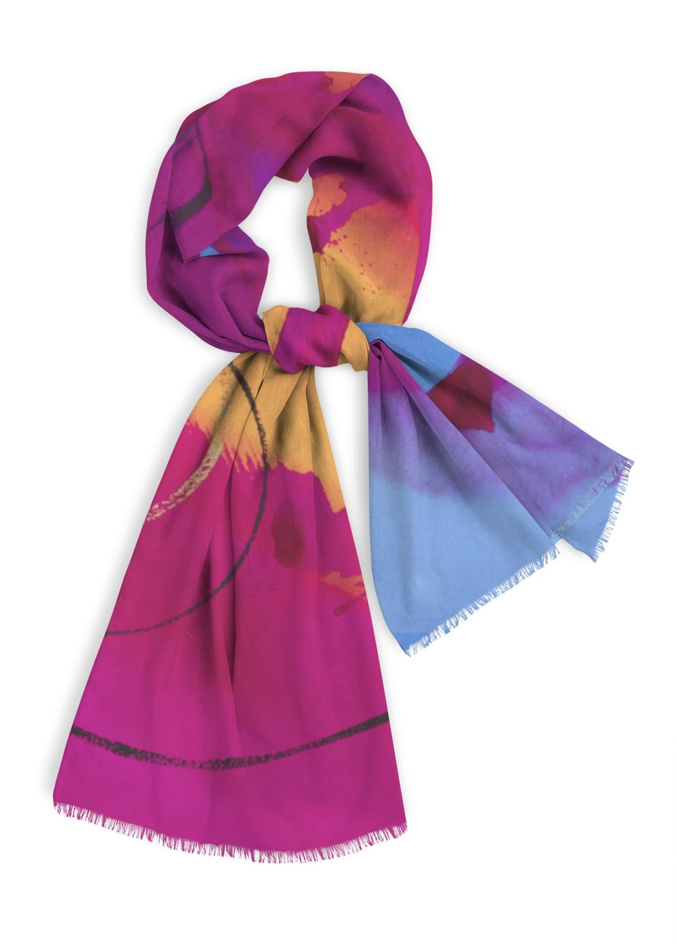 """Natural Cotton Scarf, 28x78"""" magenta, violet, blue with yellow"""
