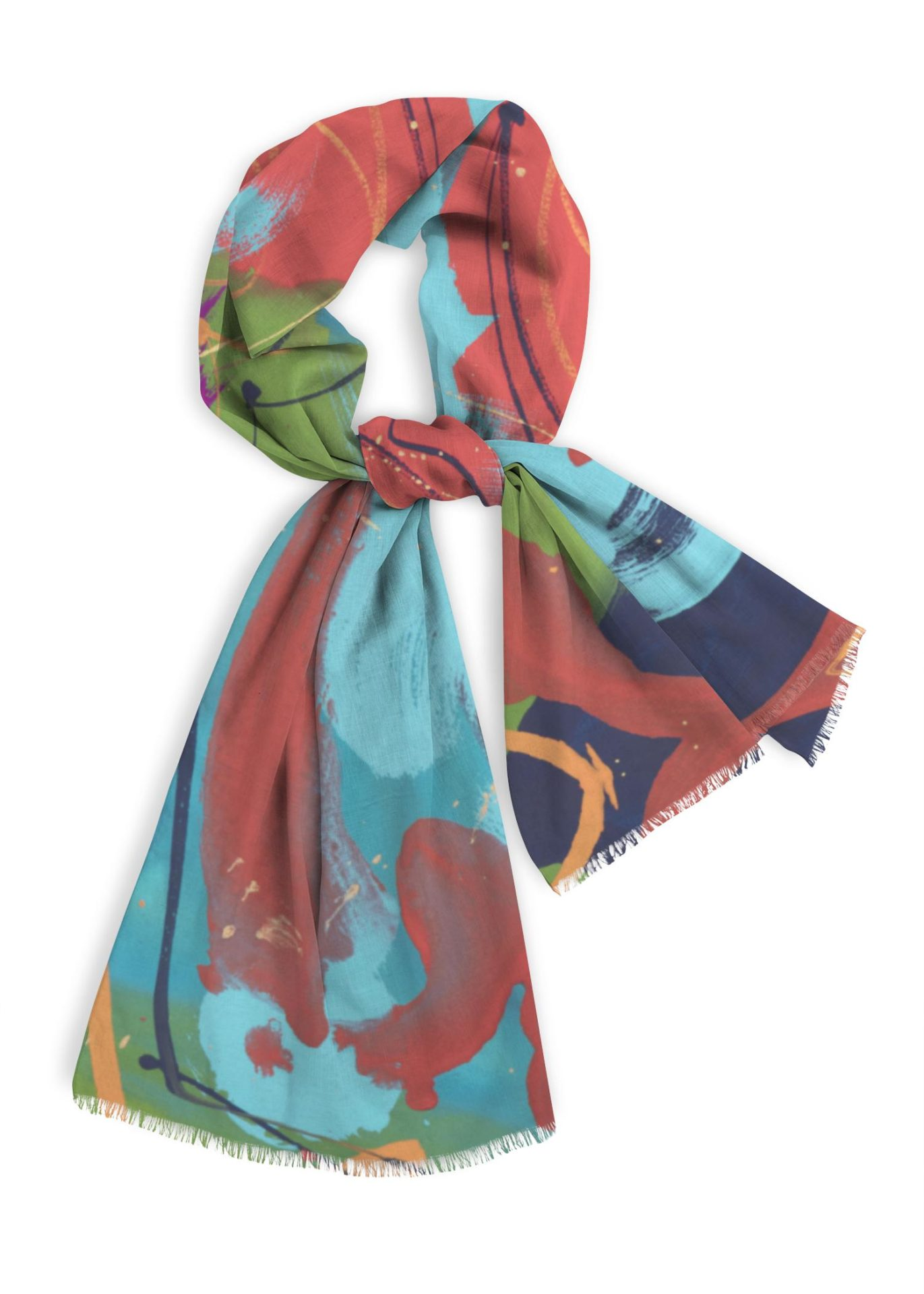 Blue Night, Natural Cotton Scarf