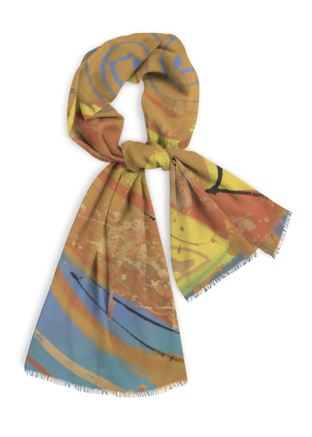 "Natural Cotton Scarf, 28x78"" in blues, orange and gold"