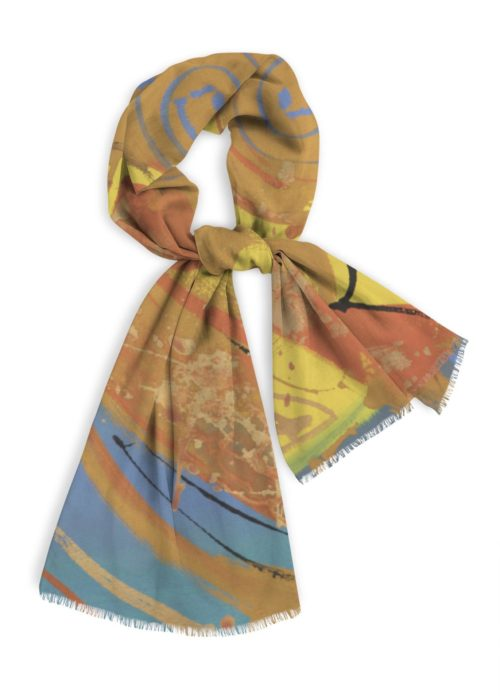 """Natural Cotton Scarf, 28x78"""" in blues, orange and gold"""
