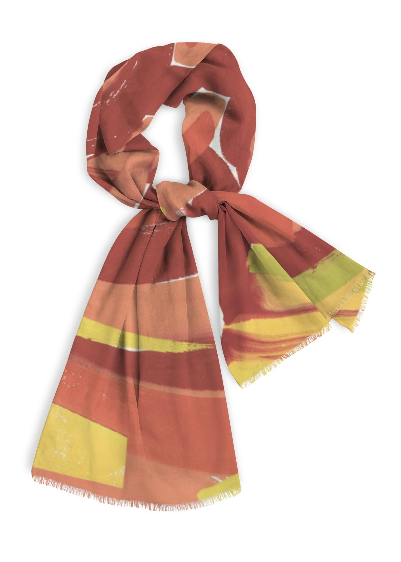 Natural cotton scarf, 28x78 inches, warm rusty reds with yellow