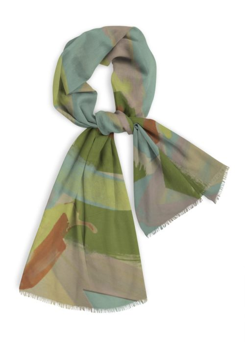 Natural Cotton Scarf, greens and blue grays with yellow, 28x78""