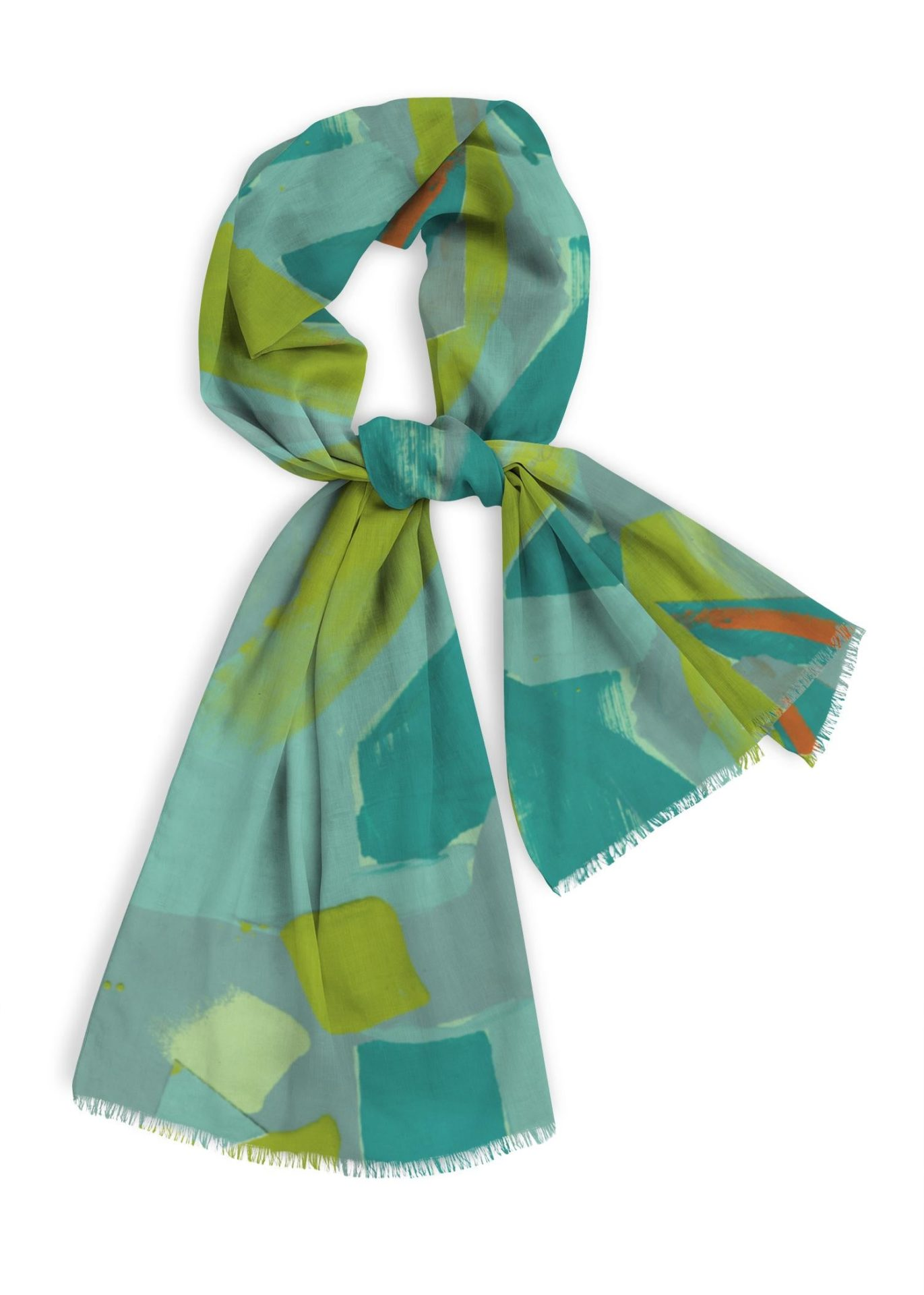 """Natural cotton scarf, 28x78"""", greens, blue greens with orange"""