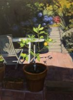 "Garden Shadows, oil on linen, 40x30"", framed"