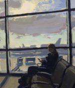 "Anticipation Gouache on paper, 7""x6"", 2020, framed."