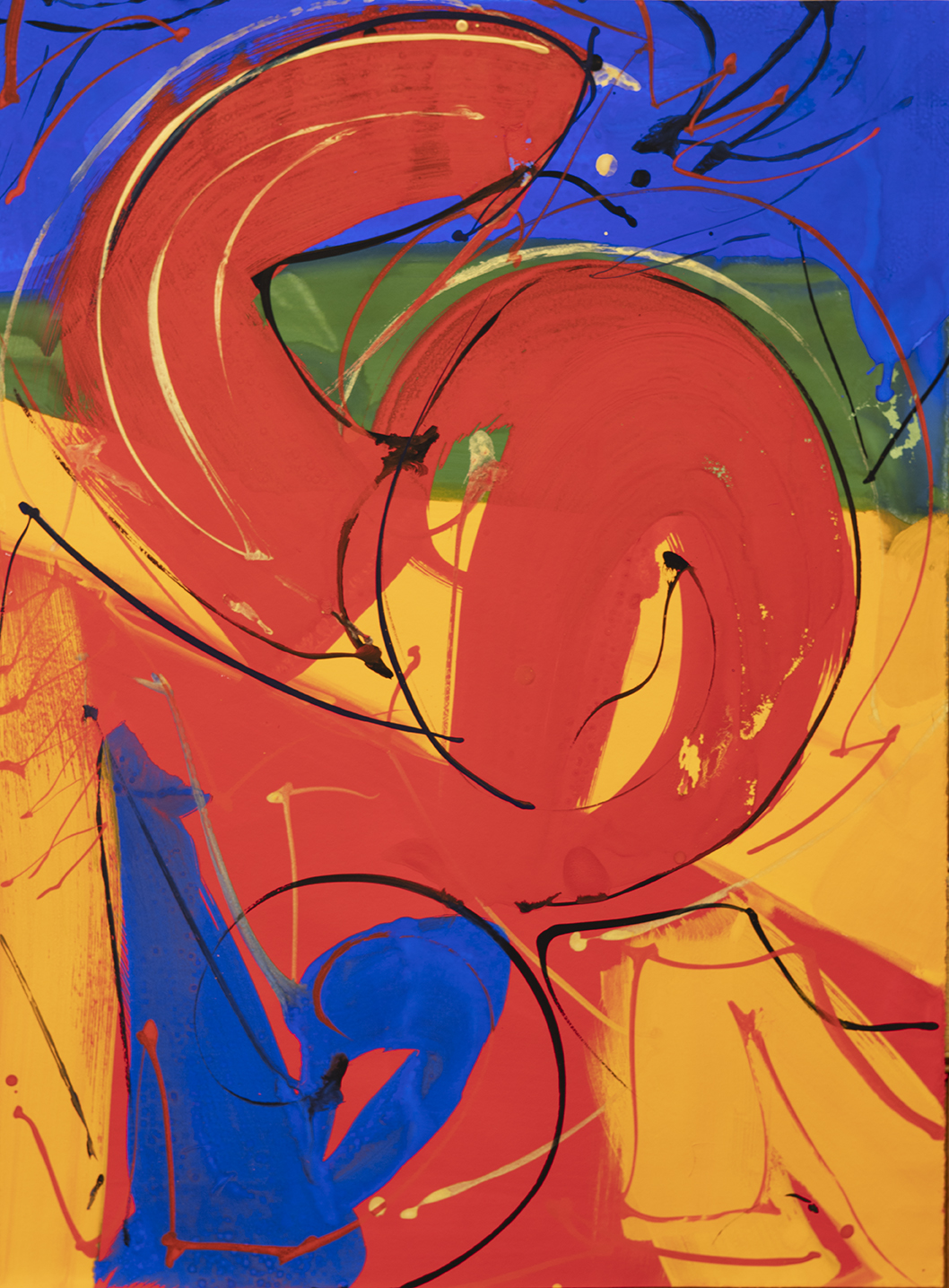Gouache on paper, 22x30, Caligraphic and gestural brush work in reds, yellows. blues and green