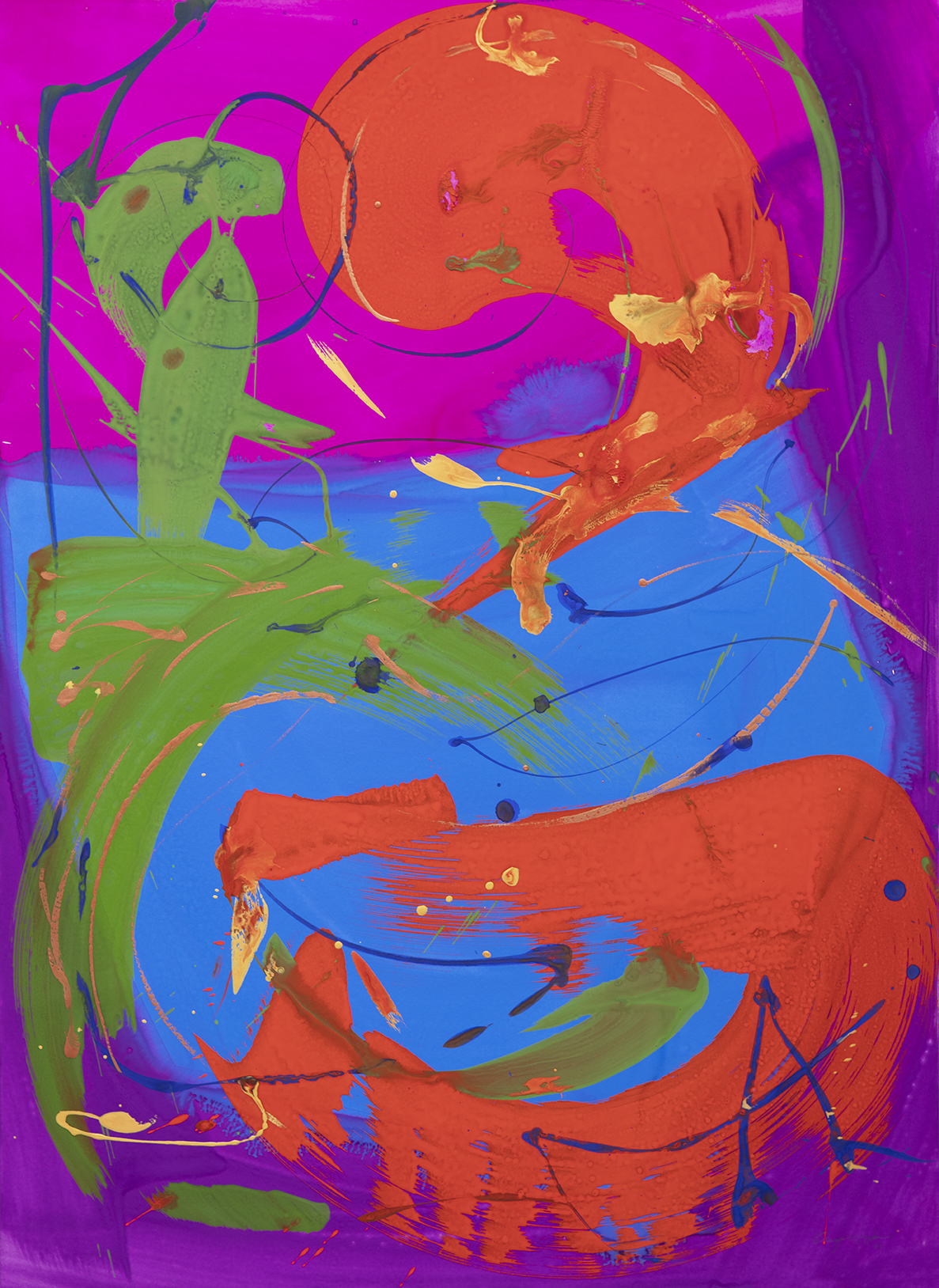 """Gouache on paper, 22x30"""", red, magenta, blue, green and gold"""