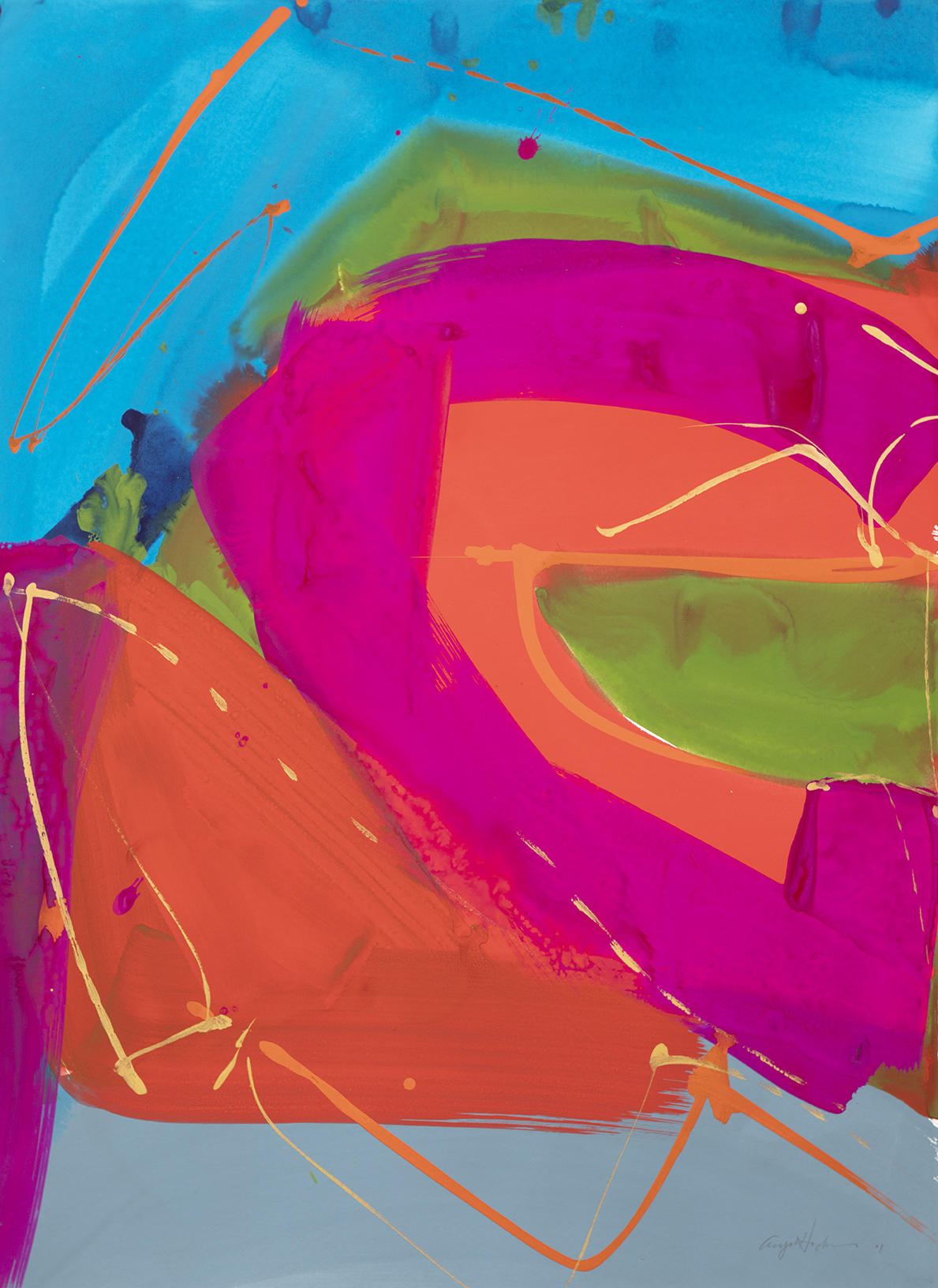 """Walking Time, gouache on paper 22x30"""" bright magenta, turquoise blues.orange and moss green."""