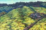 Contact me maevecroghan@earthlink.net to pushes or arrange pick-up/shipping.      Begun plein air in Tuscany of a magnificent green hillside