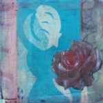"""Collage featuring pink rose image on 2"""" deep panel with beeswax , 5 x 5"""""""