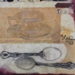 From a large seroies of images about tea using collage, tea dyed papers and wax