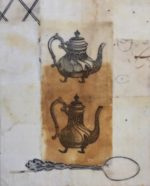 from a series about Tea, using collage, tea dyed papers and beeswax