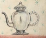 Tea series, drawing and collage with beeswax finish