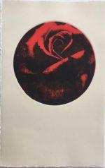 "Monoprint on Rives BFK Cream, 15 x 10.5 sheet, circular image   7.5"""