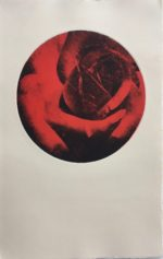 """Monoprint, and paper lithography with circular Image 7.5 """", Rives BFK Cream sheet 15 x 10.5"""""""