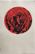 "Monoprint on Rives BFK Cream, 15 x 10.5 sheet, image circle  7.5"""