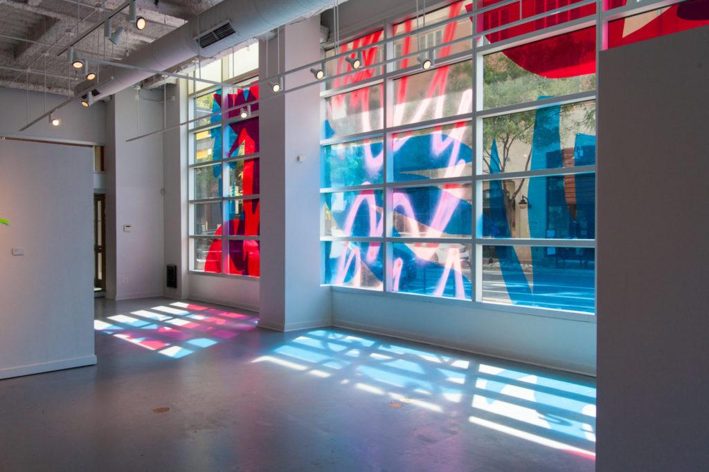 "Nicole Mueller, Untitled (window installation),"" Dura-lar, 15×45 ft, 2016"