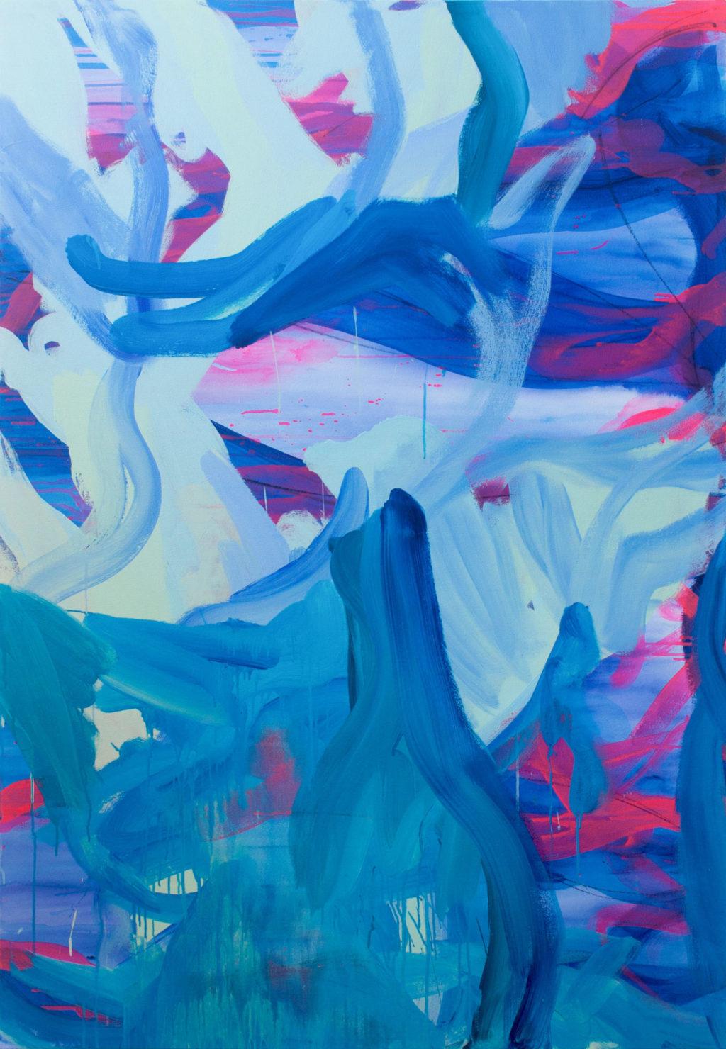 "Nicole Mueller, ""Fuse,"" Acrylic on canvas, 72 x 50 in., 2019"