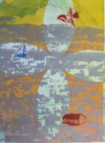 Based on a photo of San Francisco taken from Diamond Heights, with monoprint color and image transfers