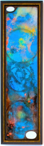 William Rhodes; Nepture in Pisces; Carved wood, paint, pen, glass, mirror and gold leaf; 51 x 15