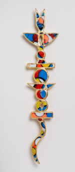 William Rhodes; Kimetic Totem ; Carved wood, paint, pen, glass, mirror and gold leaf; $1800.