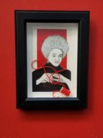 William Rhodes Kathleen Cleaver; Pencil, pen, and thread on paper; 6.5 x 8.5 x 1.5 framed $350.