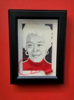 William Rhodes; Ms. Nyasha; Pencil, pen, and thread on paper; 6.5 x 8.5 x 1.5 framed $350.