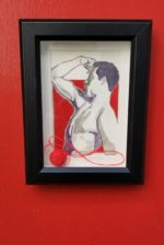 William Rhodes; Who's Johnny; Pencil, pen, and thread on paper; 6.5 x 8.5 x 1.5 framed $350.