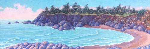 "Maeve Croghan ""North Coast Light""     oil on canvas, 12"" x 36"""
