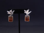 Fine Silver Coral Head Agate Stream Earrings
