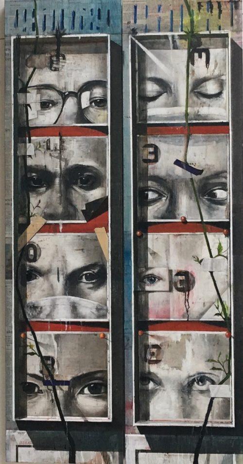 "Stephen Namara: Diptych, each panel 48""x12"", oil and newsprint on wood panel, 2020"